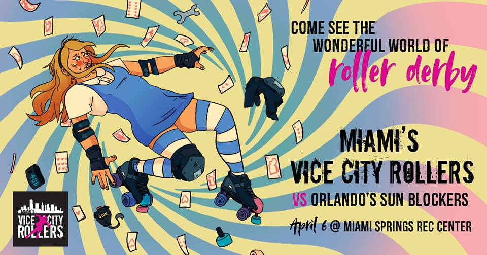 Roller Derby Match at the Miami Springs Rec Center April 6