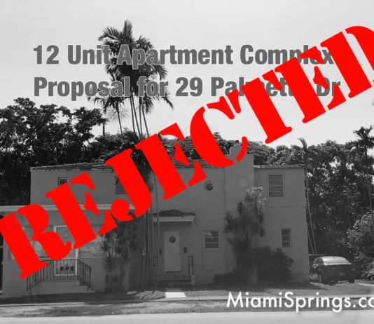 PALMETTO DRIVE PROJECT REJECTED