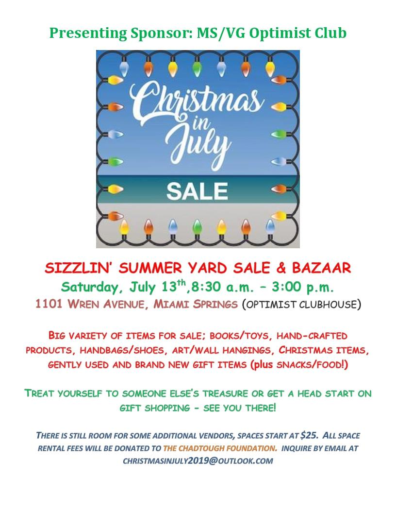Christmas In July Sale Images.Optimist Club Christmas In July Sale Miamisprings Com