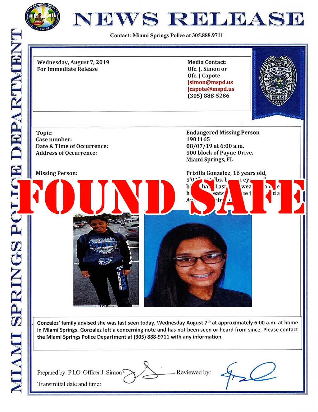 Missing Girl Found
