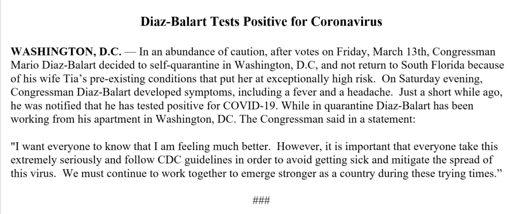 Diaz-Balart Tests Positive for Coronavirus