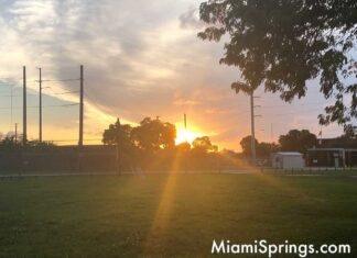 Sunset over the clay pits / sludge lagoon in Miami Springs