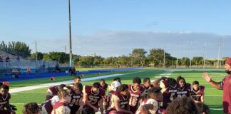 Miami Springs Senior High Football (Photo Courtesy Miami Springs Senior High Twitter @mssh_hawks)