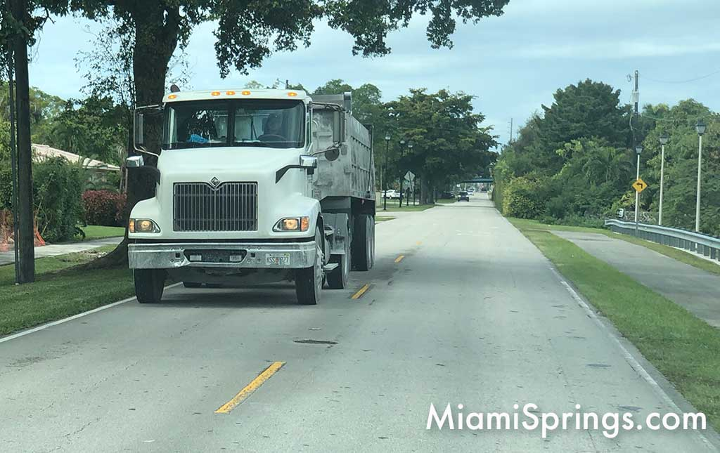 Dump Truck on North Royal Poinciana Boulevard in Miami Springs