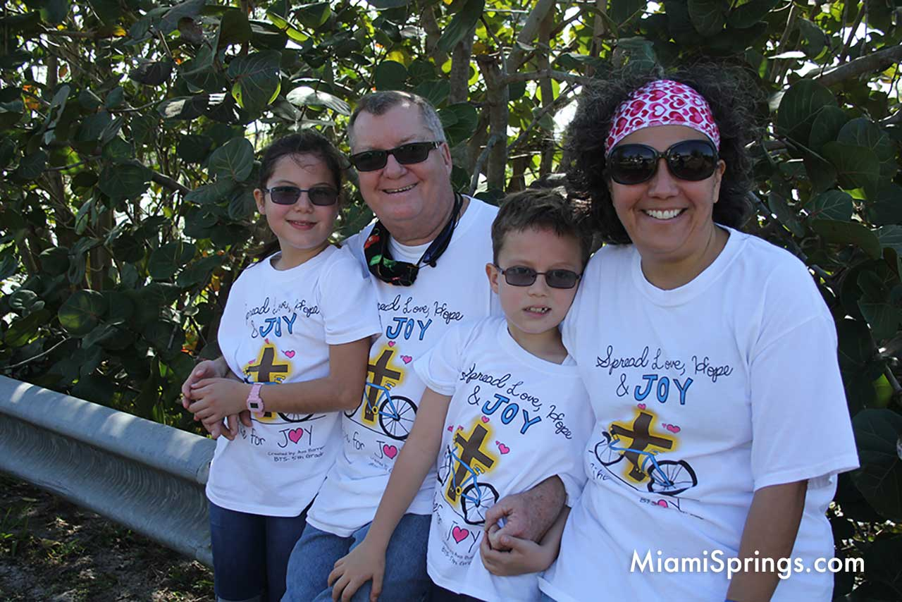 Spangler Family at the 2021 Blessed Trinity bike ride through Miami Springs