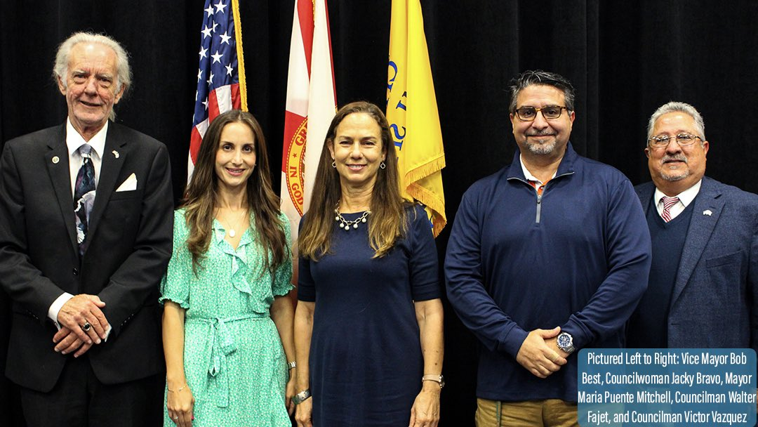 Bob Best, Jacky Bravo, Maria Mitchell, Walter Fajet, and Victor Vazquez (Photo credit: City of Miami Springs)