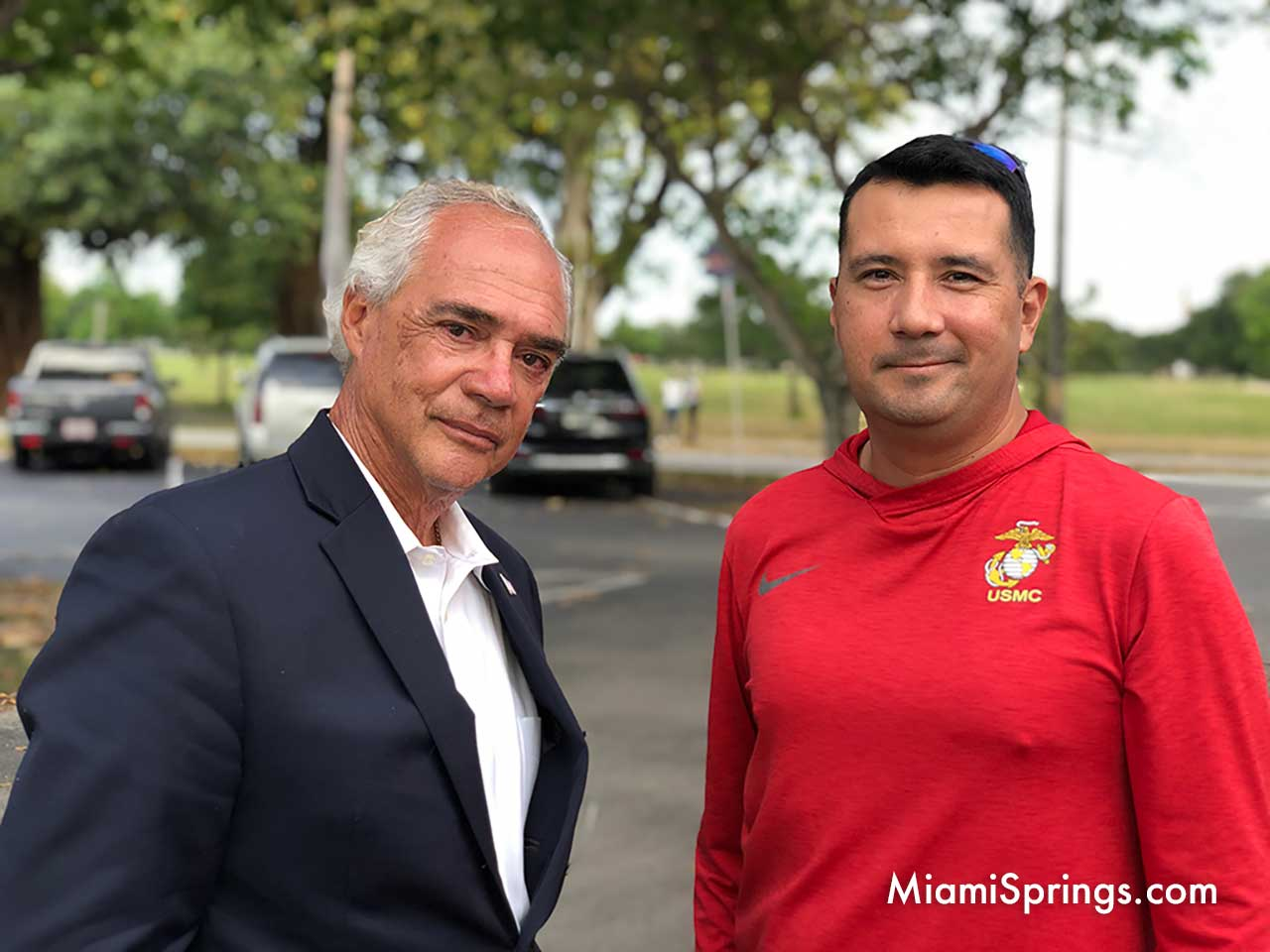 Vincent Medel with friend on election day.