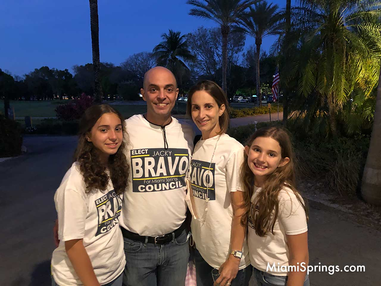 Jacky Bravo with her husband and daughters.