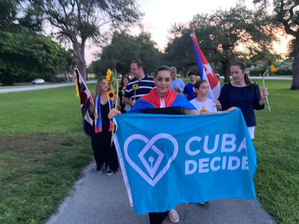 Miami Springs residents march for freedom in Cuba. Photo Courtesy Milly Perez-Crespo.