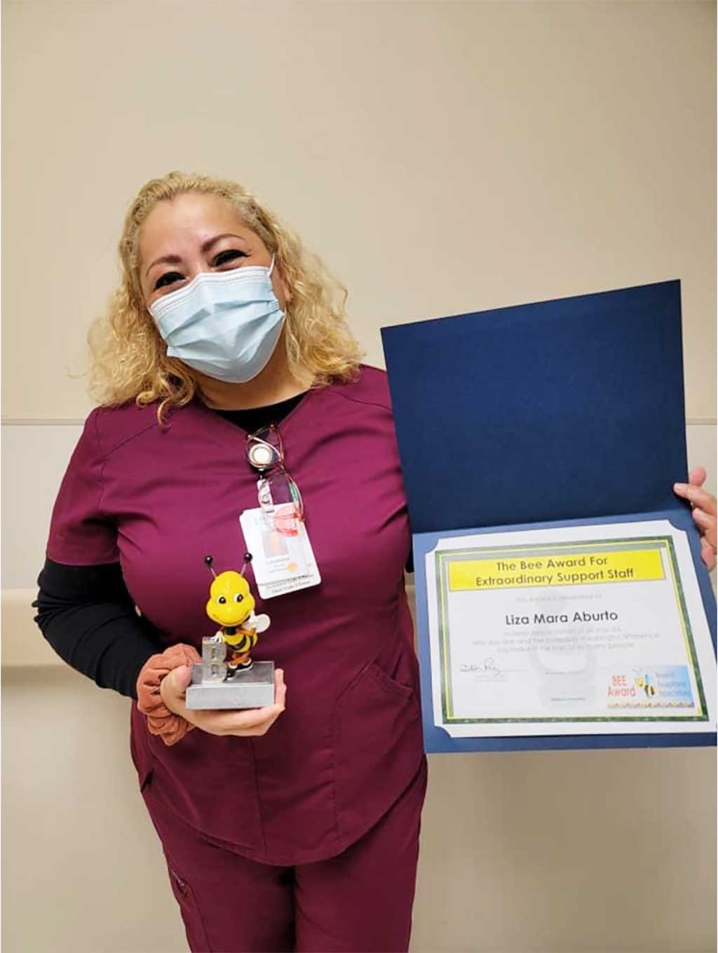 Liza Mara Aburto received the BEE Award for her compassion, kindness and patience.