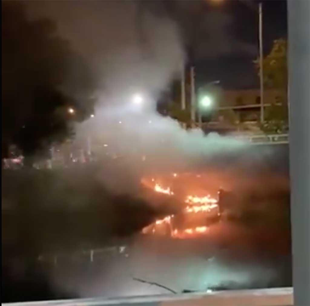 Fire Under Pedestrian Bridge