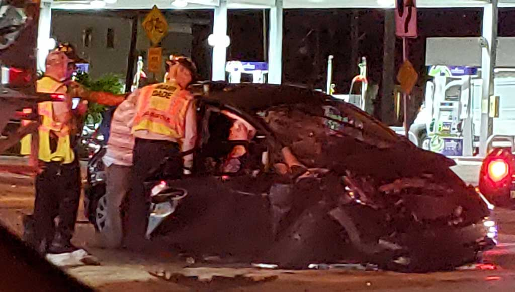 Miami-Dade Fire Rescue Assisting Passenger in Car Wreck