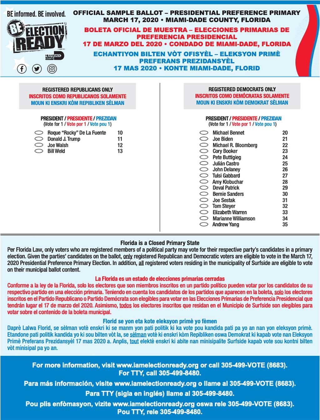 Miami-Dade Election Ballot