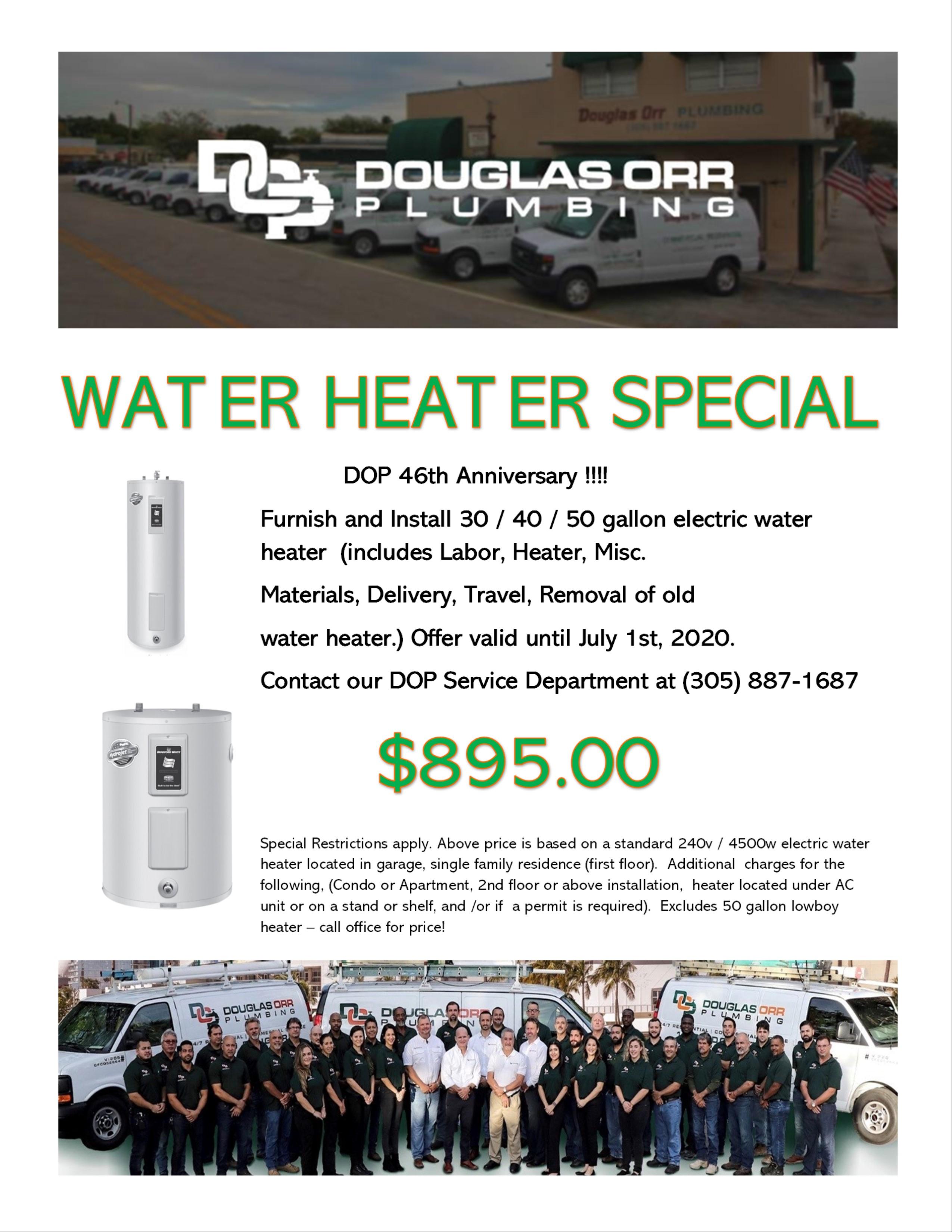 Douglas Orr Plumbing 46th Anniversary Heater Special