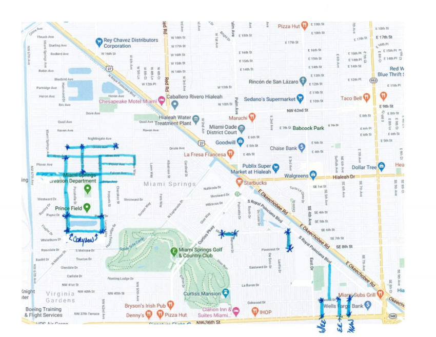 Map of flooded areas in Miami Springs published by the City of Miami Springs
