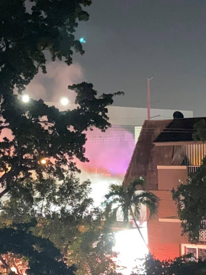Fire at Miami Springs Inn - Photo Courtesy Natasha Vidal via the Miami Springs Community Group on Facebook