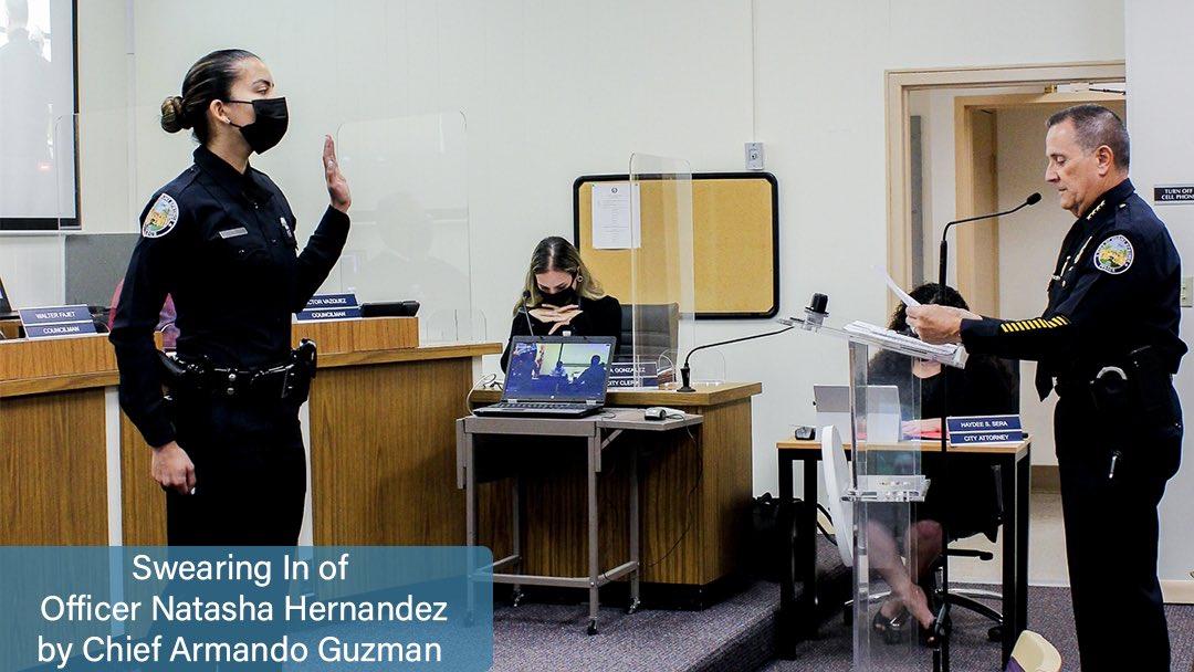 New Officer Natasha Hernandez with Chief Armando Guzman (Photo Credit: City of Miami Springs)