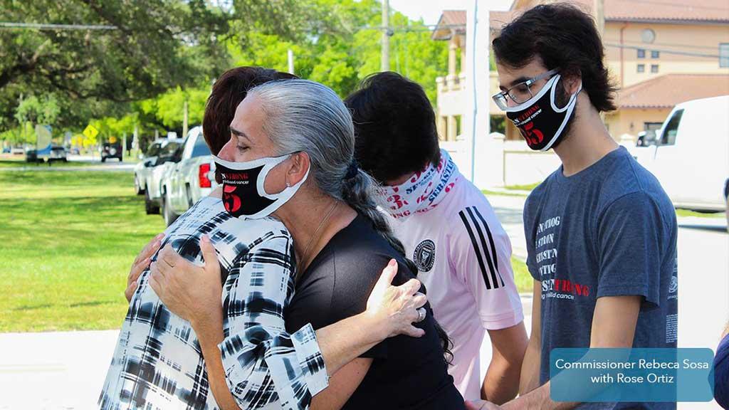 Sebastian Ortiz' mom, Rose Ortiz with Miami-Dade Commissioner, Rebeca Sosa. Photo courtesy City of Miami Springs.