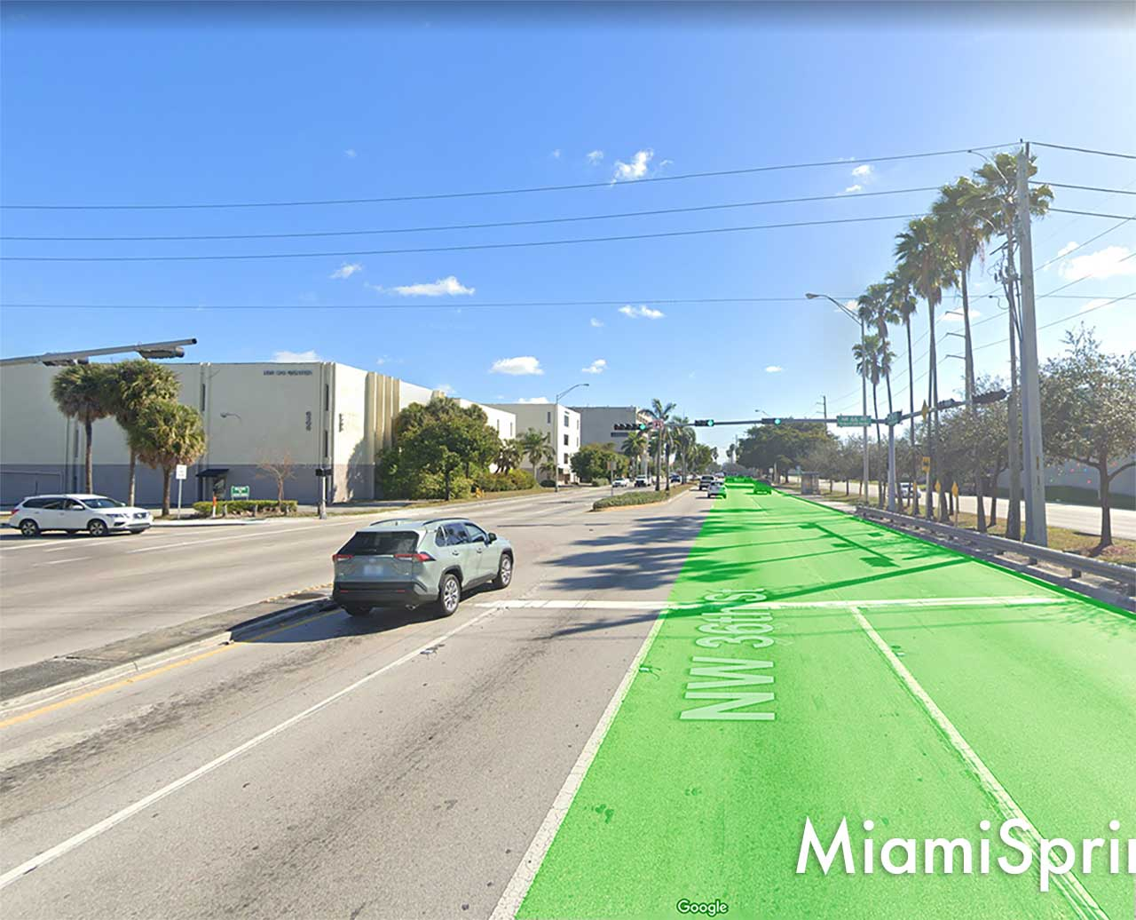 We propose that the right 2 lanes at NW 36th Street and 66 Avenue are permanent flow through lanes and never stop