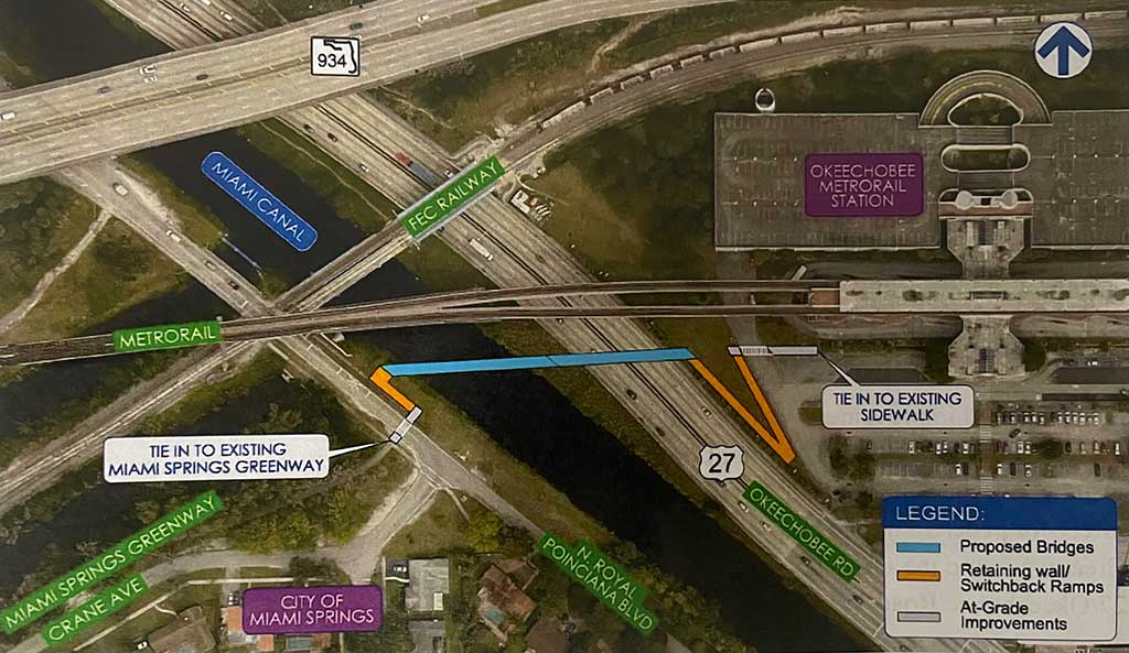 Map of Pedestrian Bridge from Miami Springs to Metrorail in Hialeah crossing the Miami River and US-27