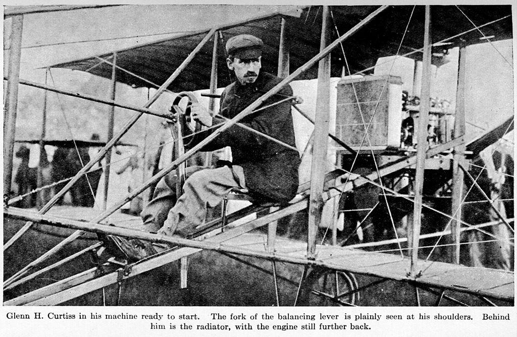 Glenn Curtiss seated in aircraft