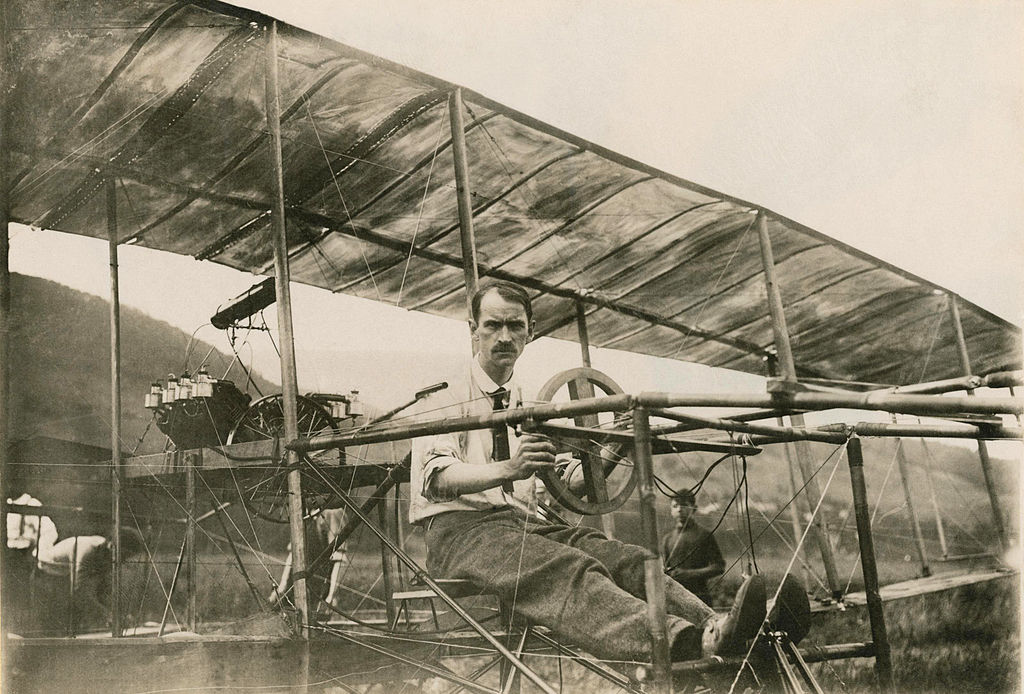 Glenn Curtiss in the June Bug bi-plane, July 4, 1908