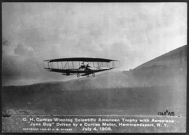 Curtiss June Bug piloted by Glenn Curtiss on July 4, 1908