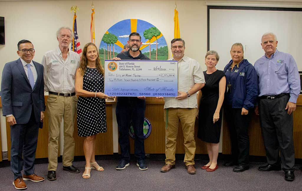 Florida Senator Manny Diaz Jr. Presents a $2.7 Million Check to the City of Miami Springs