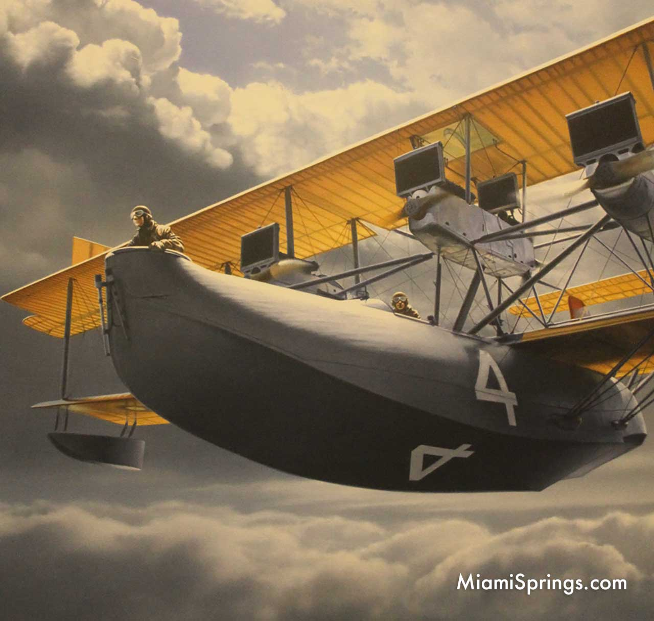 Photo of a painting at the Smithsonian Air and Space Museum of the Curtiss NC-4 Crossing