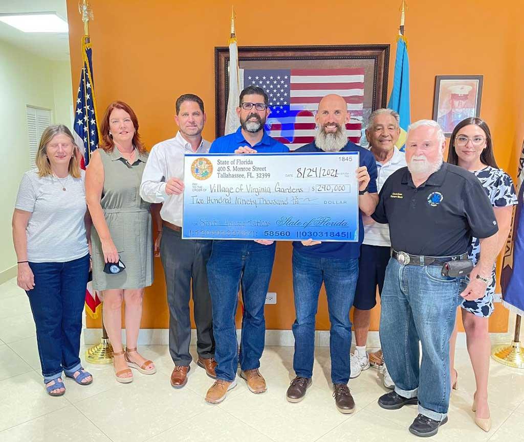 Florida Senator Manny Diaz Jr. presented a check for $290,000 to the Village of Virginia Gardens