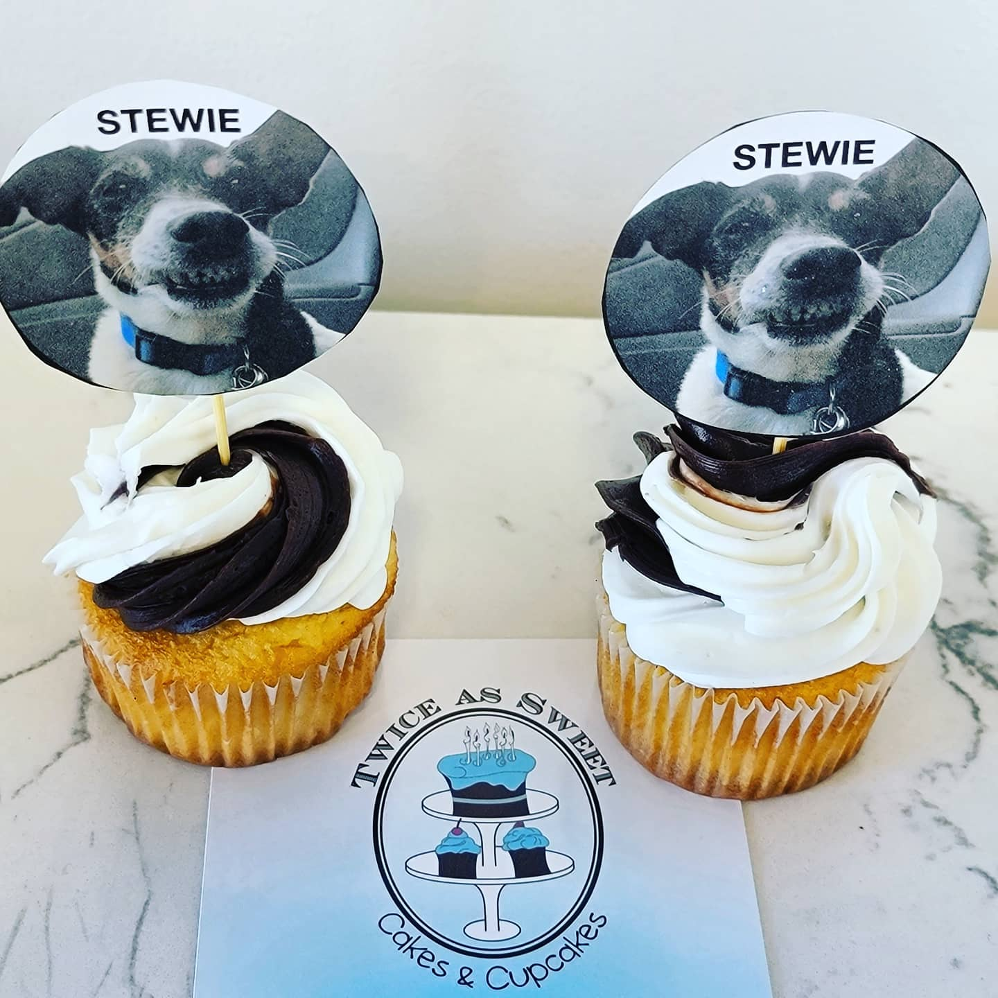 Stewie Dog Cupcakes at Twice As Sweet